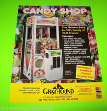 Grayhound CANDY SHOP Skill Crane Original NOS Redemption Claw ARCADE GAME Flyer