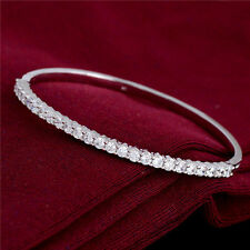 Luxury Silver Cubic Zirconia White Crystal Bangle Bracelet