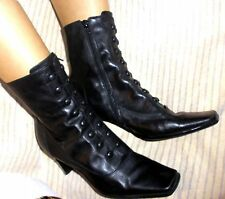 Black Leather Goth Vintage Style Granny Boots Size 9