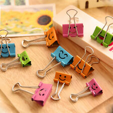 8pcs Lovely Smile Metal Binder Clips For Home Office School File Paper Organizer