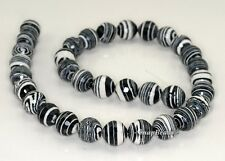 12MM MATRIX TURQUOISE GEMSTONE BLACK WHITE STRIPE FACETED ROUND LOOSE BEADS 7""