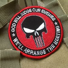 GOD WILL JUDGE OUR ENEMIES PUNISHER INFIDEL MORALE Hook &Loop PATCH/RED