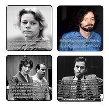 SERIAL KILLERS #01 COASTER & HOLDER SET OF 4 - Gloss Hardboard FREE Stand