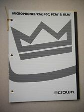 Crown Microphones/CM,PCC,PZM & GLM Sales Catalog
