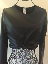 Faux Leather Long Sleeve Crop Top By Eien Size M L Made In USA