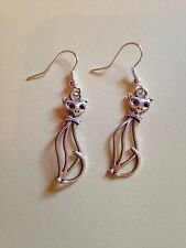 Retro Cat Silhouettes - Silver-plated Dangly Earrings