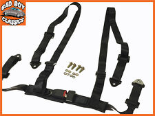 NEW SPORTS RACING HARNESS SEAT BELT 3 OR 4 POINT FIXING QUICK RELEASE BLACK