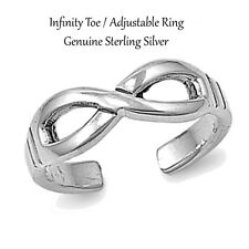 Sterling Silver Infinity Adjustable / Toe Ring - 6 mm Silver / Gold / Rose Gold