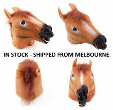 HORSE HEAD FANCY DRESS PARTY LATEX ANIMAL HALLOWEEN MOVIE PROP TOY COSTUME MASK