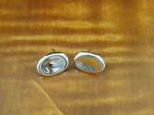Oval Concave Design Sterling Silver 925 Pierced Dainty Earrings