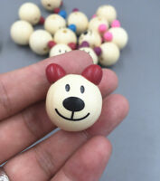 10pcs Wooden Round lovely Bear Loose Beads CRAFT BEADS Beaded Handmade 28mm