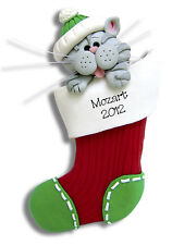 Gray Tabby KITTY CAT HANDMADE Clay Personalized  Ornament  by Deb & Co