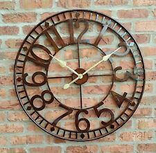 LARGE OUTDOOR MAINS GARDEN WALL CLOCK BIG  NUMERALS GIANT OPEN FACE METAL 80CM