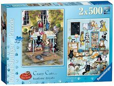 NEW! Ravensburger Crazy Cats Teatime Treats by Linda Jane Smith 2 x 500 jigsaws