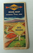 1946 SUNOCO SUN OIL COMPANY HIGHWAY TRAVEL ROAD MAP OF OHIO & INDIANA #55fdr