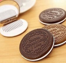 FD1652 Mini Pocket Chocolate Cookie Biscuits Compact Mirror With Comb ~Cute~ G