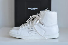 NIB Auth  Saint Laurent White Studded Leather Sneakers Lace-up Shoes 10.5 / 40.5