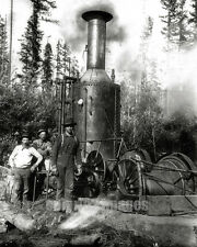 OR WA Pacific NW BW PHOTO Logging Crew & Donkey Engine