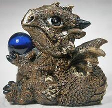 1 x 7cm Bronze Brown Baby Dragon w crystal ball Figurine DRAGBYB 931984452550