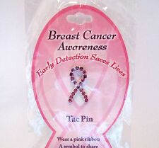Breast Cancer Awareness Ribbon Tac Pin With Pink Crystal Rhinestones
