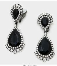 "2.75"" Long Crystal Black Jet Rhinestone Bridal Earrings Pageant Costume CLIP ON"