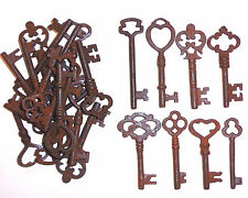 ASSORTED ANTIQUE 1800'S FANCY TOP IRON SKELETON KEYS LOT OF 25