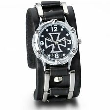 Men's Analog Quartz Sport Celtic Cross Dial Wide Black Leather Band Wrist Watch