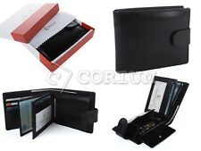 NEW MENS LUXURY SOFT BLACK QUALITY REAL LEATHER WALLET CREDIT CARD HOLDER PURSE