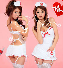 Sexy White Nurse Costume Doctor Halloween fany dress garter suspenders Lingerie