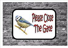 Por favor cierra la puerta herrerillo Diseño Pájaro Jardín signo De Puerta De Metal