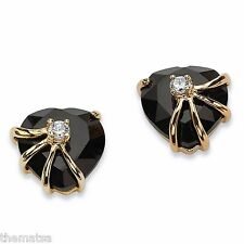 14K GOLD PLATED BLACK ONYX HEART SHAPE PIERCED EARRINGS