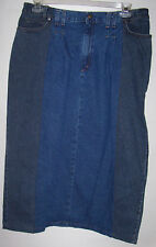 Vivaldi Jeans Wear Size 12 Denim Blue Jean Skirt 100% Cotton Modest Made In USA