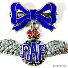 WW2 1930s RAF Silver & Enamel Sweetheart Pendant Brooch Badge - Royal Air Force