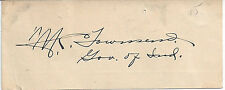1930s INDIANA GOVERNOR M. CLIFFORD TOWNSEND AUTOGRAPH - ON CARD