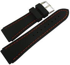 22mm Hadley-Roma MS3345 Black Silicone Rubber Orange Stitch Watch Band Strap