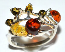 Authentic Baltic Amber 925 Sterling Silver Ring Jewelry s.6.5 JJ1953