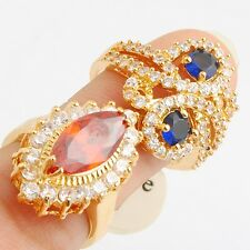 Wholesale Blue Round Red Marquise Cubic Zircon Gold Filled Lady Girl Ring Size 7