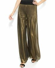 NEW (702) ALFANI Women ElasticWaist Accordion Wide Leg Metallic  Pants Gold  XL