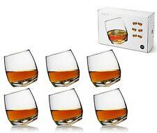 Sagaform Set of 6 Glass Round Curved Base Rocking Whisky Glasses Mens Bar Gift