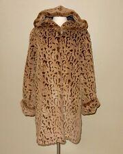 Dennis Basso Tan/Brown Animal Print Faux Fur Hooded Coat Size M