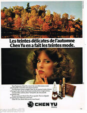 PUBLICITE ADVERTISING 055  1977  CHEN YU  maquillage AUTOMNE verni rouge à lèvre
