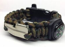 Paracord Bracelet Fire Starter Whistle Handmade Camo Survival Hunting USA Made