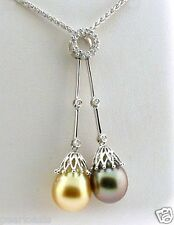 Gray and Golden South Sea Pearl Lariat Necklace w/0.23 Ct. Diamonds; 18K Gold