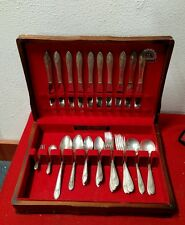 Oneida silverplate flatware set wood box, cutlery fork Tudor plate vintage spoon