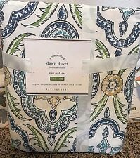 Pottery Barn Dawn print KING duvet cover BLUE GREEN