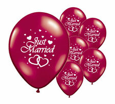 "8 JUST MARRIED BURGUNDY 12"" HELIUM QUALITY PEARLISED WEDDING BALLOONS (PA)"
