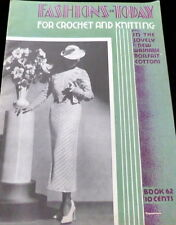 RARE VTG 1930s FASHIONS OF TODAY CROCHET KNITTING Book WOMENS CLOTHING 1935