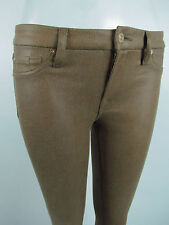 Seven 7 For All Mankind THE SKINNY Women SZ 28 IN CRACKLED LEATHER COGNAC BROWN