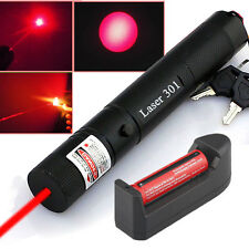 Red Laser Pointer Pen 5MW 650NM Military +Charger+Rechargeable 18650 Battery