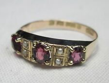 Edwardian 9ct Rose Gold Natural Garnet & Seed Pearl Ring Hallmarked Size O 1911